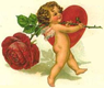 vintage angel with red rose and red heart