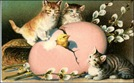 free vintage Easter clip art pink egg three tabby kittens
