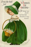 free vintage greeting cards St Patricks Day cute kids little girl with bonnet