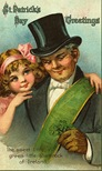 free vintage greeting cards St Patricks Day cute kids little girl with Irish gentleman