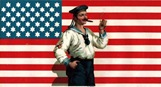 free vintage nautical art sailor in front of the american flag