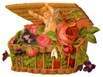 vintage flowers cherub in basket of roses with butterfly