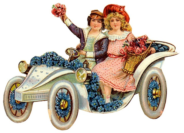 free vintage children clip art -- little boy and girl in antique car