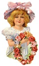 free vintage clip art mothers day little girl in hat with flower wreath
