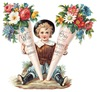 free vintage mothers day clipart little Victorian boy with flower cones