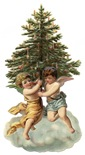 free vintage Christmas angels dancing around pine tree