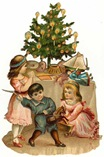 free vintage Christmas clip art -- Victorian children with Christmas tree and toys