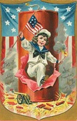 fourth-of-july-sailor-boy-American-flag-firecracker-vintage-postcard