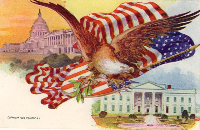 American flag, capitol building and White House vintage card
