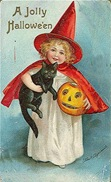 vintage-Halloween-little-girl-red-cape-black-cat-pumpkin-card