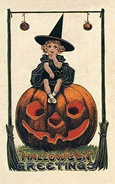 vintage-Halloween-little-girl-witch-pumpkin-black-cat-card