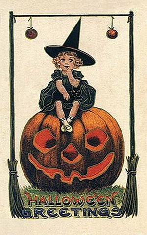 Vintage Halloween Little Girl Witch Pumpkin Black Cat