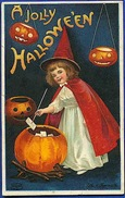vintage-Halloween-little-girl-witch-red-cape-hat-pumpkins-card