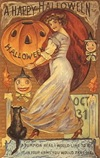 vintage_Halloween-pumpkin-woman-black-cat