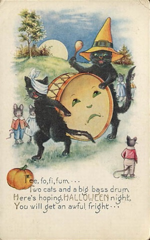 Vintage Halloween Two Black Cats Drum Mice Card