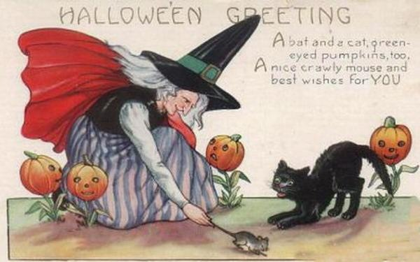... Vintage Halloween Witch Black Cat Pumpkins Rat.card ...