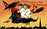 vintage-Halloween-witch-broomstick-boy-girl-postcard