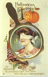 vintage-Halloween-woman-blindfolded-pumpkin-mirror-card