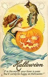 vintage-Halloween-woman-mirror-pumpkin
