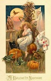 vintage-Halloween-woman-nightmare-owl-black-cat-pumpkins-frogs-witch-card