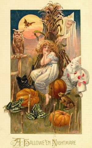 Vintage Halloween Woman Nightmare Owl Black Cat Pumpkins
