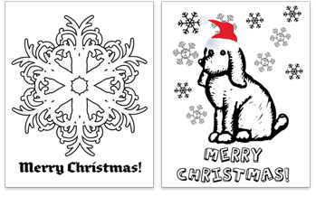 Free Christmas Coloring Pages and Greeting Cards