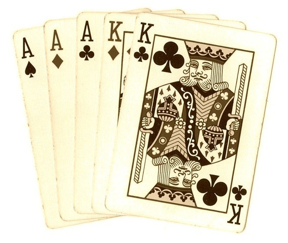 Free Clip Art: Vintage-look Poker Hands