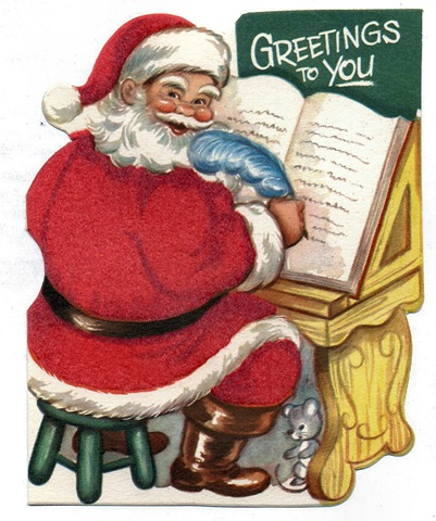Free vintage santa claus kids christmas cards vintage holiday crafts santa claus writing list feather childrens christmas card m4hsunfo