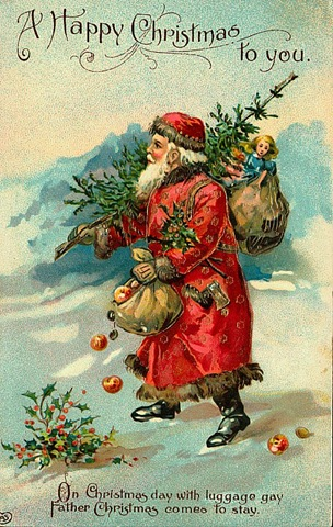 Free vintage santa claus christmas cards vintage holiday for Santa cards pinterest
