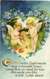 Victorian valentines two cherubs cupid hearts blue flowers