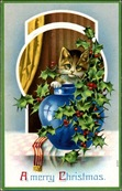 vintage-Christmas-card-blue-vase-brown-white-cat-holly