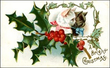vintage-Christmas-card-kittens-white-black-holly