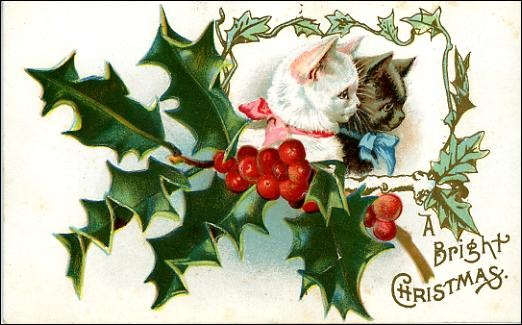 Free vintage christmas cards here come the cats vintage holiday vintage christmas card kittens white black holly m4hsunfo