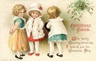 vintage_Christmas_card_three_children_mistletoe