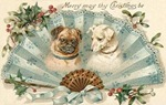 vintage-Christmas-card-two-dogs-blue-fan