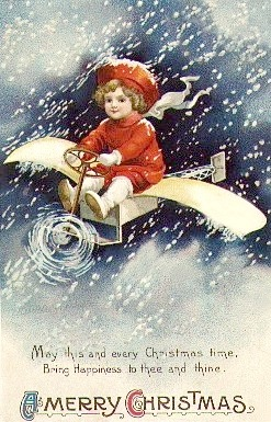 vintage little boy airplane christmas card - Airplane Christmas Cards