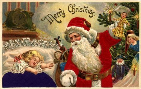 vintage little girl santa claus christmas tree toys - Santa Claus Christmas Pictures