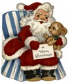 vintage-Santa-Claus-striped-blue-chair-dog-kids-Xmas-card