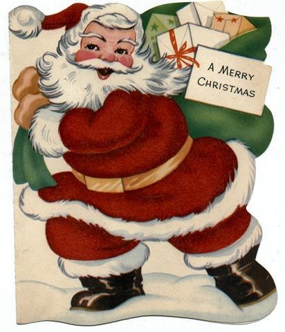 vintage santa sack toys kids xmas cards - Santa Claus Christmas Cards