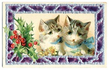 vintage-textured-Christmas-card-two-striped-cats-daisies-holly
