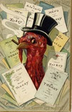 vintage Thanksgiving cards turkey in top hat with restaurant menus
