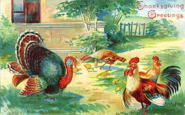 Free vintage thanksgiving greeting cards vintage holiday crafts vintage thanksgiving turkey chickens clipart m4hsunfo