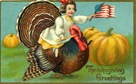 vintage Thanksgiving turkey little girl with American flag