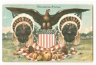 vintage Thanksgiving turkey with American eagle and shield