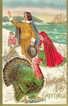 vintage Thanksgiving turkey with pilgrims family
