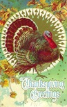vintage Thanksgiving turkey wth fall leaves