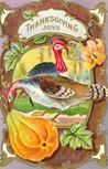 vintage Thanksgiving turkeys with gourd and wood frame