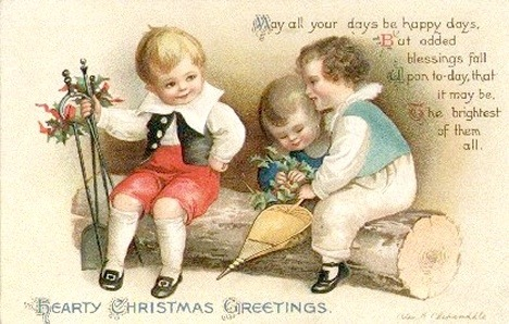 Free Vintage Christmas Cards: Cute Kids