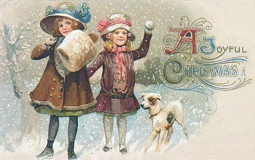 Free Vintage Dog Art Christmas Cards