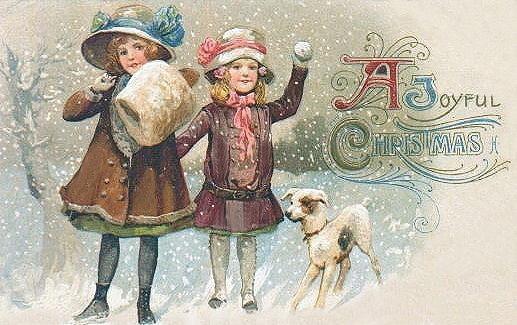 Free Vintage Dog Art Christmas Cards